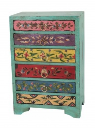 Hand Painted Wooden Chest with 6 Drawers