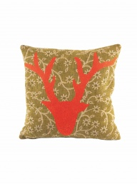 Kantha Cushion with Embroidered Stag