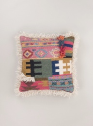 Aztec Wool Fringe Cushion