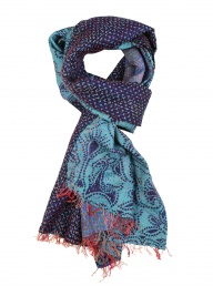 Recycled Kantha Silk Scarf - Blue