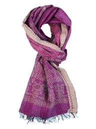 Recycled Kantha Silk Scarf - Purple