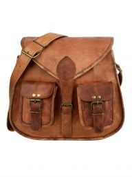 Brown Leather Satchel Style Saddle Bag