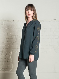 Nomads Cross Stitch Shirt - Pewter
