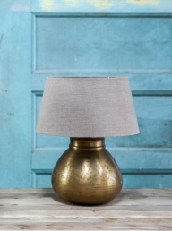 Mahendra Brass Lamp + Linen Shade