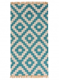 Recycled PET Yarn Rug - Teal + Natural