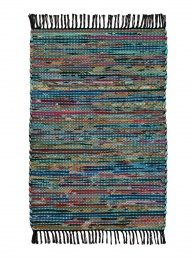 Recycled Cotton + Fleece Rug - Turquoise