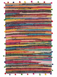Pom Pom Rag Rug - Rectangle