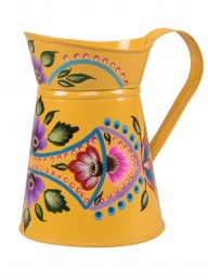 Kashmir Hand Painted Folk Jug - Yellow