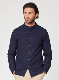 Thought Avro Grandad Hemp Shirt-Navy