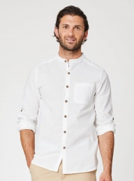 Thought Avro Grandad Hemp Shirt-White